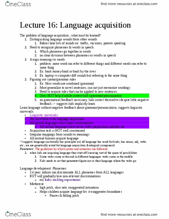 PSYCH 240 Lecture Notes - Lecture 3: Phrase Structure Grammar,  Transformational Grammar, Function Word