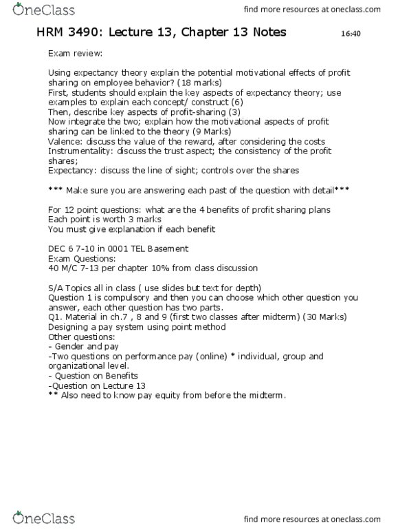 HRM 3490 Lecture Notes - Lecture 13: Expectancy Theory