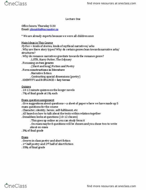 ENGLISH 3Y03 Lecture Notes - Winter 2018, Lecture 1 - Toboggan