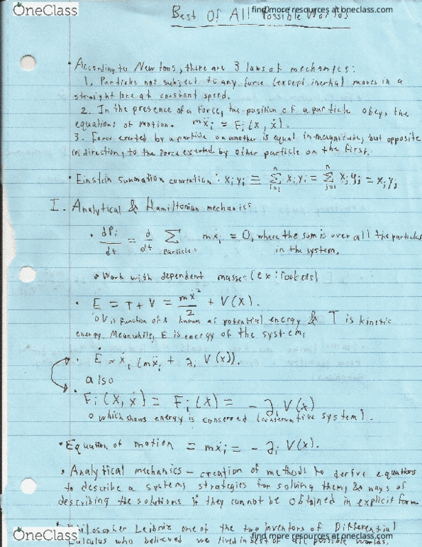 Class Notes for PHY-1150 at Appalachian State University