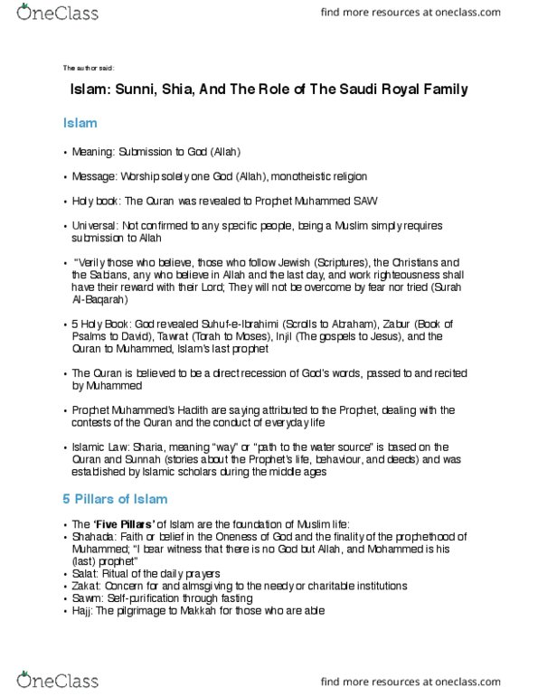 GMS 695 Textbook Notes - Fall 2017, Chapter 8 - Muhammad, House Of