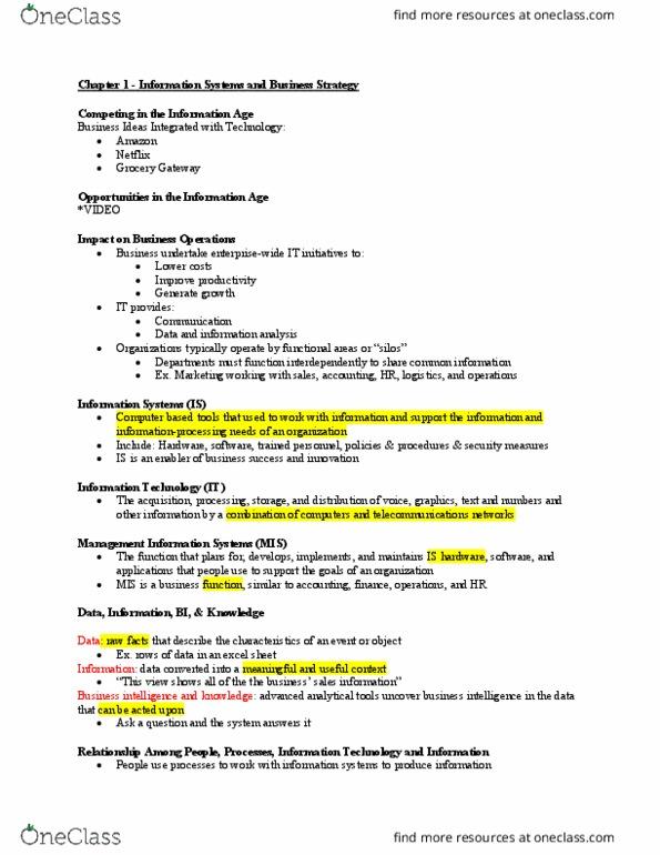 Class Notes for James Bowen - OneClass