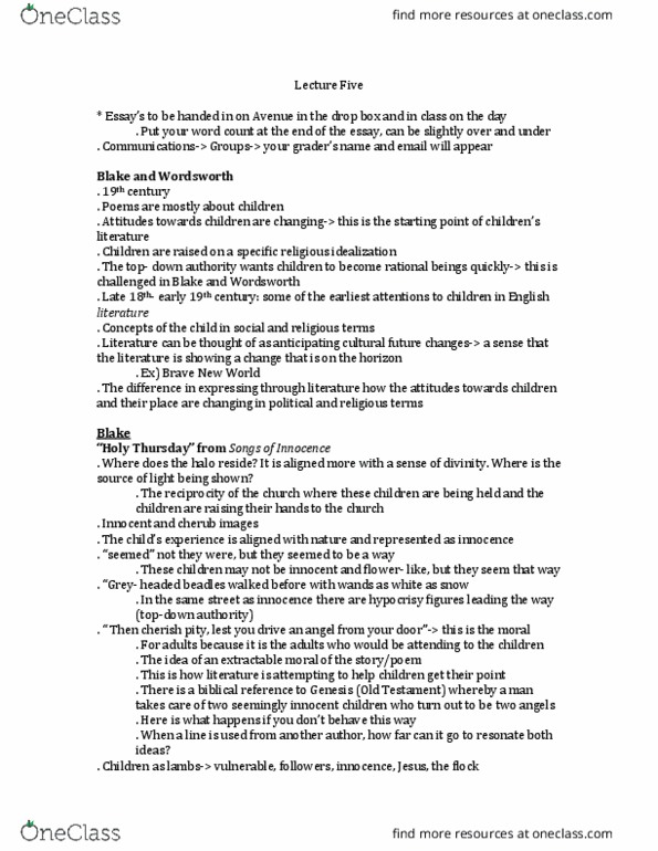 Class Notes for ENGLISH 3Y03 at McMaster University - OneClass