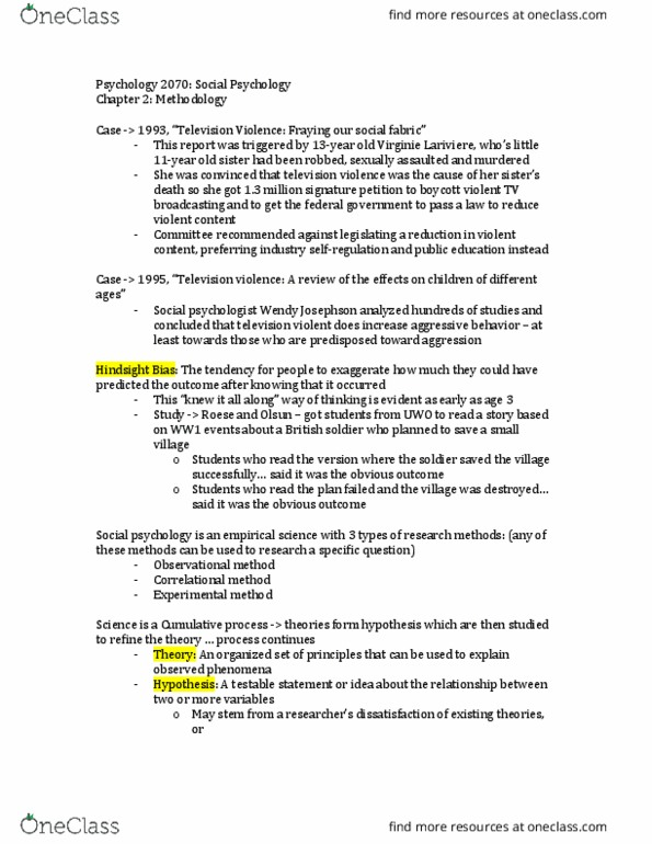 Psychology 2070A/B Textbook Notes - Winter 2018, Chapter 2