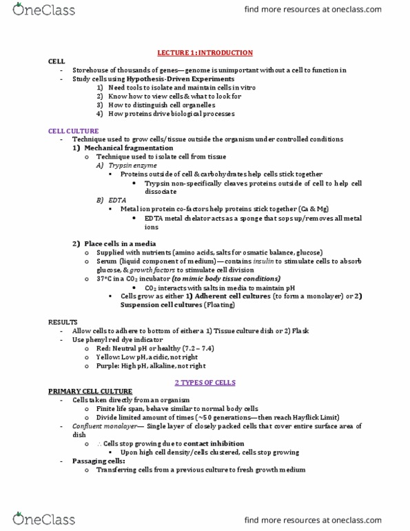 Biology 2382B Lecture Notes - Lecture 1: Cell Culture,  Ethylenediaminetetraacetic Acid, Trypsin