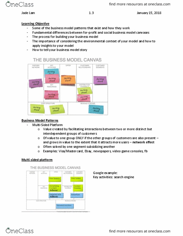 Bu121 Lecture Notes Winter 2018 Lecture 3 Business Model Canvas Freemium Free Mobile