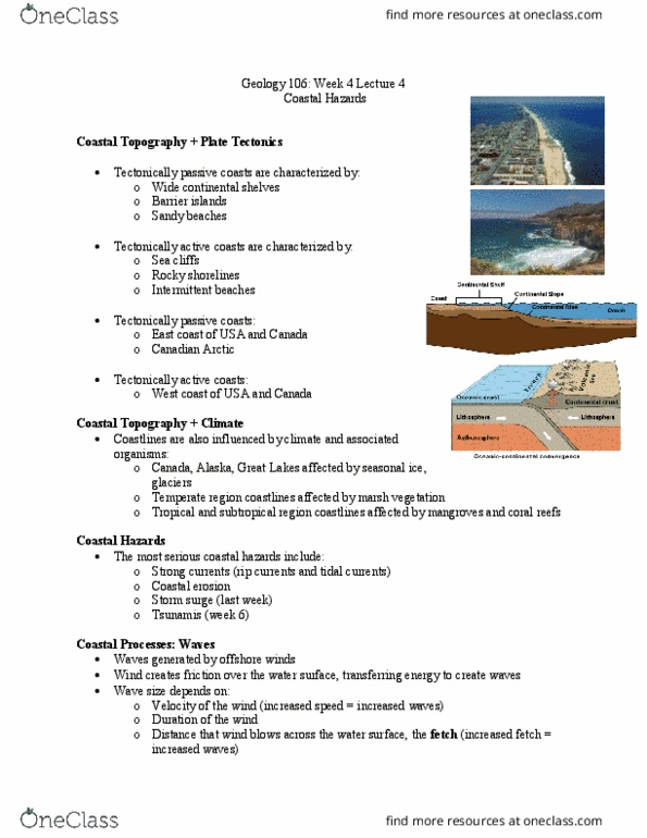 GEOL 106 Lecture Notes - Lecture 4: Coastal Hazards, Coastal Erosion,  Continental Shelf