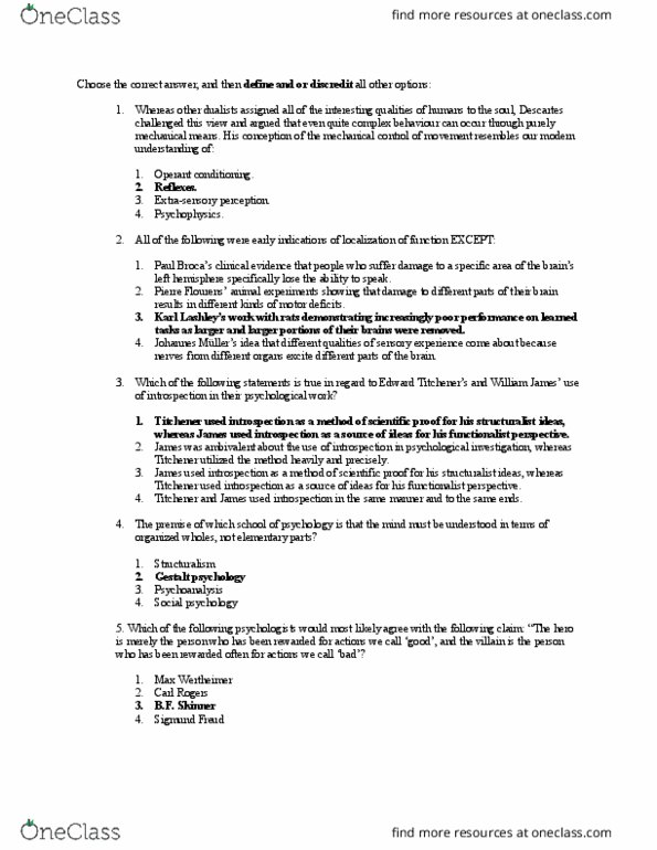 Study Guides for PSYC 100 at Queen's University - OneClass