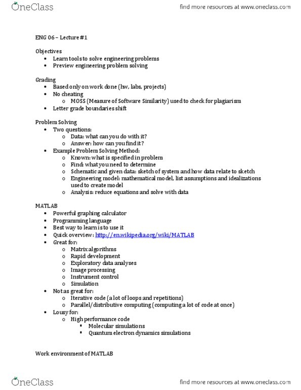 ENG 6 Lecture Notes - Spring 2013, - Graphing Calculator