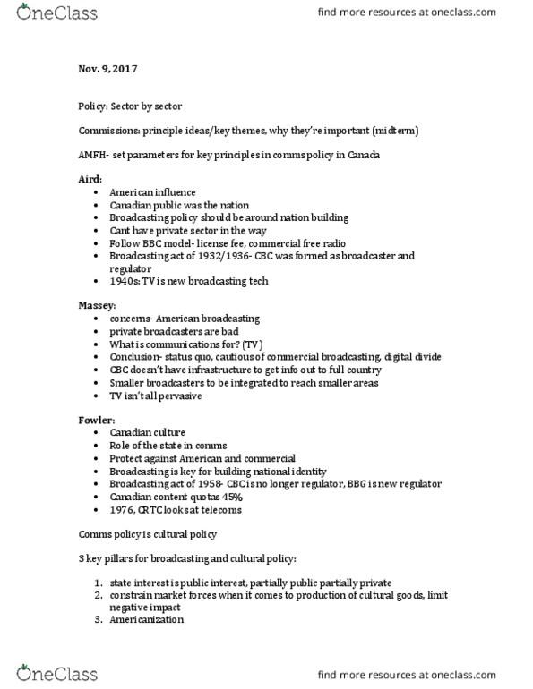CMN 1160 Lecture Notes - Lecture 8: Canadian Content, Netflix, Net  Neutrality