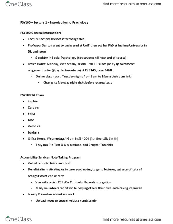 Class Notes for PSY100H1 at University of Toronto St  George