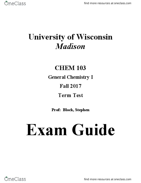 CHEM 103 Study Guide - Midterm Guide: Combined Gas Law, Chemical Potential,  Mechanical Energy