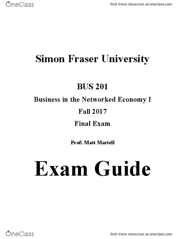 BUS 201 - Introduction to Business – FINAL EXAM STUDY GUIDE pdf