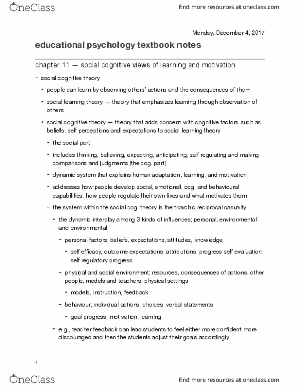 educational psychology theories and applications for learning and teaching