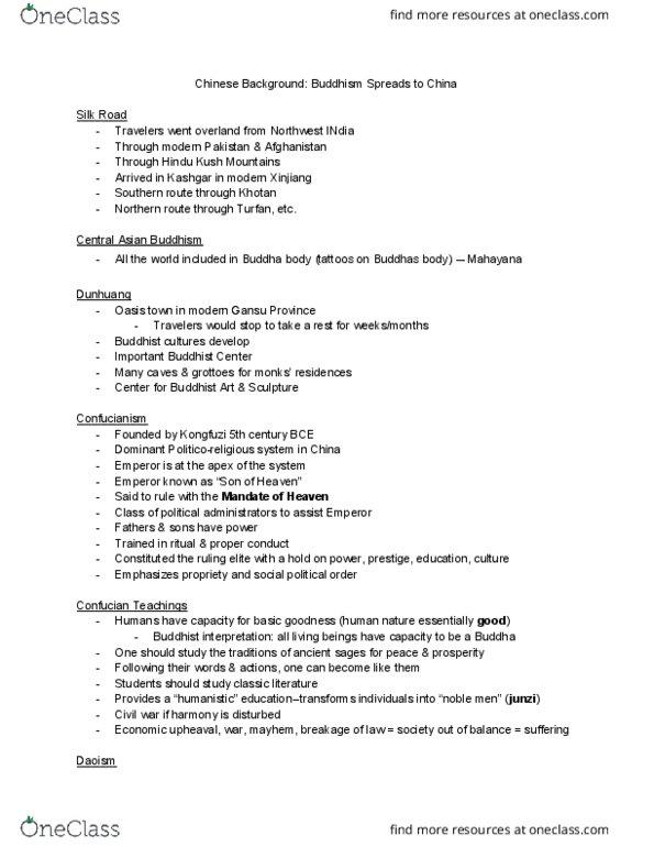 EACS 21 Lecture Notes - Lecture 12: Tao Te Ching, Qigong, Huayan