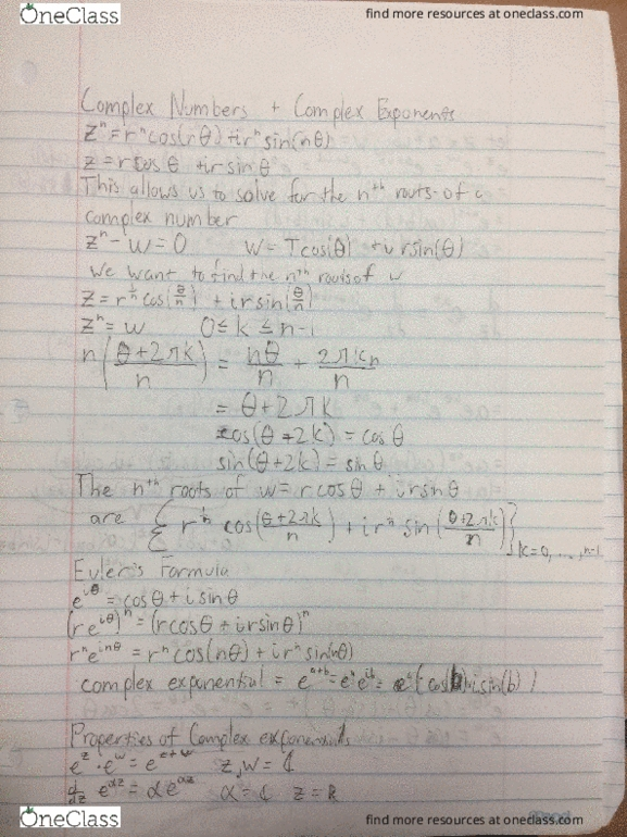 MATH 20B Lecture 10: Complex Numbers and Exponents
