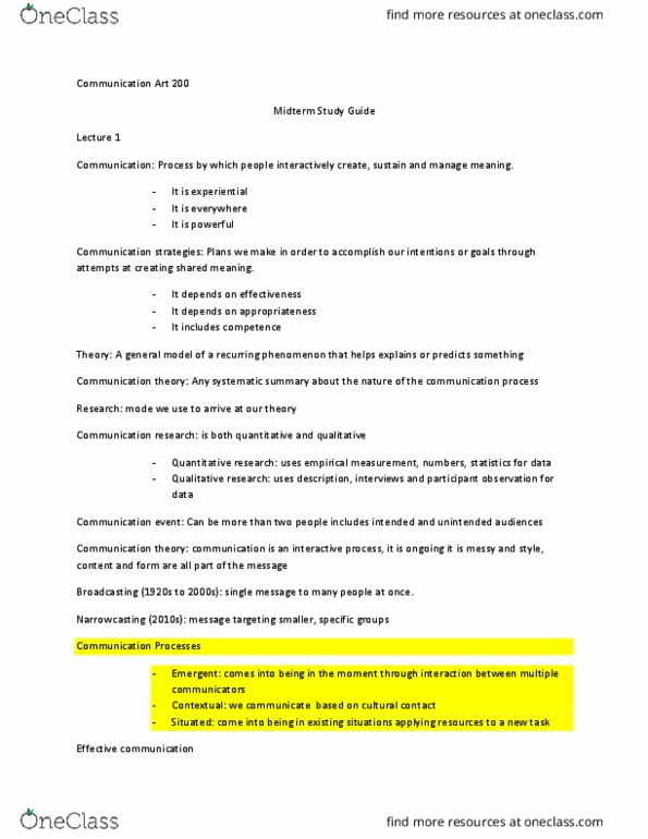 M Is For Mpowering Madison >> Com Arts 200 Study Guide Spring 2018 Midterm Communication