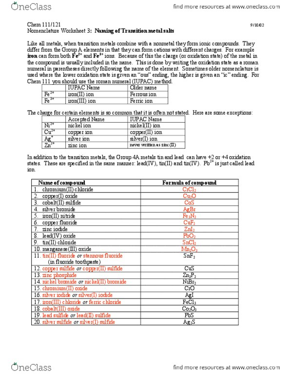 CHEM 111 Textbook Notes - Fall 2012, - Phosphide, Chromium