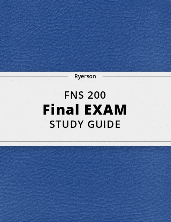 FNS 200 Final Exam Guide Comprehensive Notes For The Exam