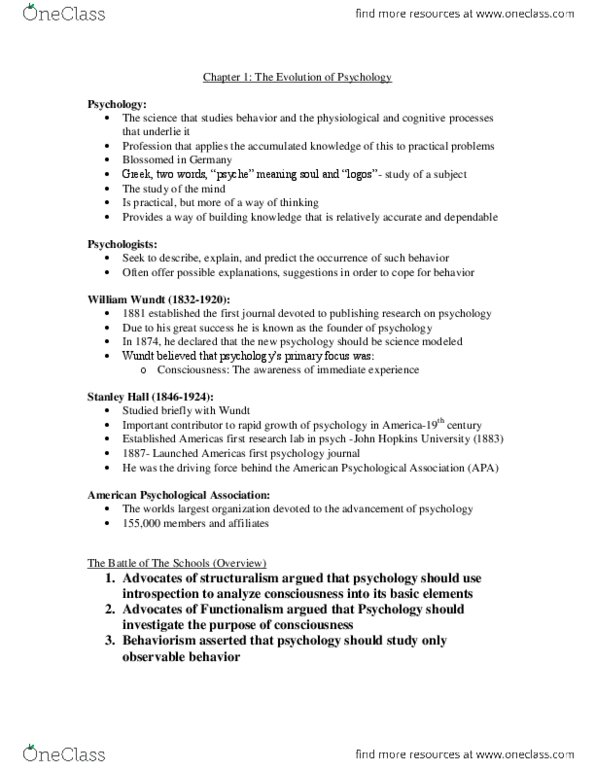 PS101 Chapter Notes - Chapter 1: American Psychological Association, Johns  Hopkins University, B  F  Skinner