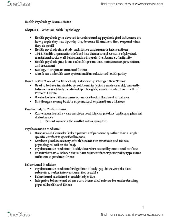 Health Psychology Exam 1 Notes - chapters 1-5 docx - OneClass