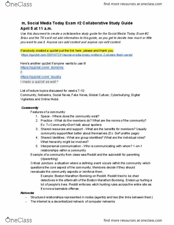 Jmc 1500 Study Guide Spring 2018 Midterm Glocalization