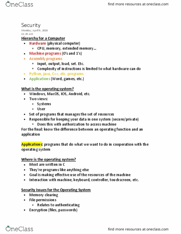CSCI 1001 Lecture Notes - Lecture 13: Extended Memory, File System  Permissions, Macos