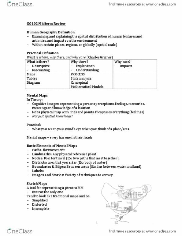 GG102 Study Guide - Fall 2013, Midterm - Semiotics, Online