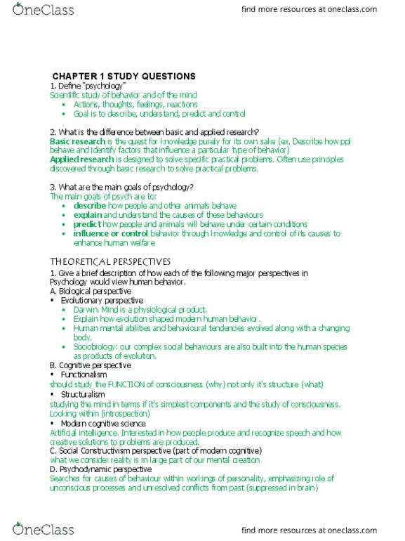 Psychology 1000 Chapter Notes - Chapter 1: Empiricism, Pessimism, Empirical  Evidence
