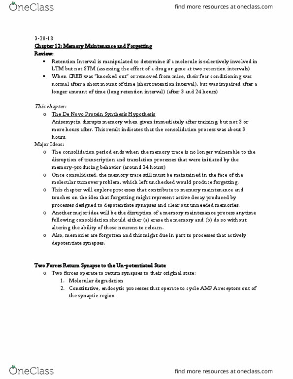 PSY 358 Chapter Notes - Chapter 12: Anisomycin, Fear Conditioning