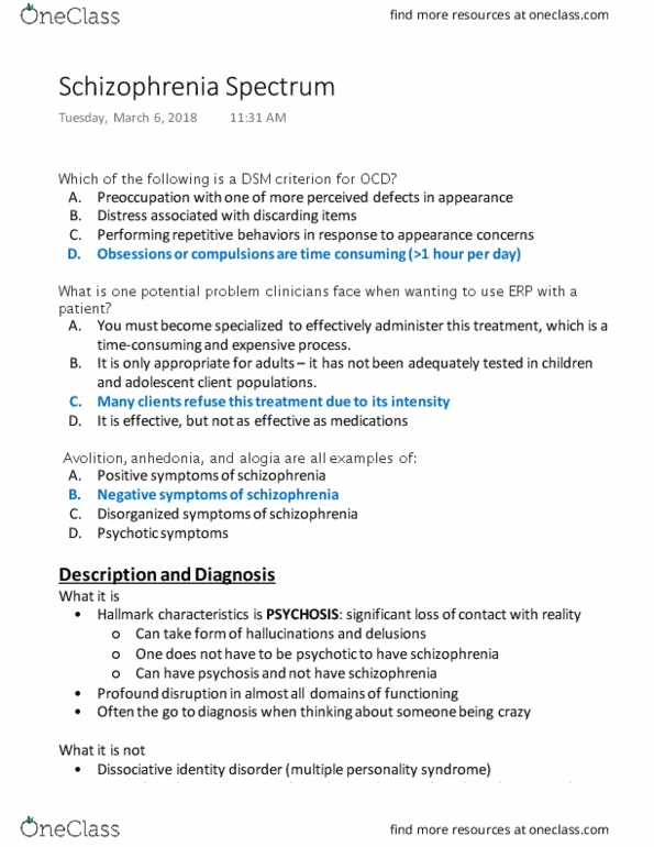 PSYC 210 Lecture Notes - Lecture 14: Dissociative Identity Disorder,  Psychopathy, Avolition