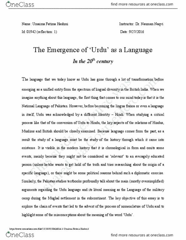 ENG 515A Lecture Notes - Lecture 24: Pakistan Studies, Naqvi, Babur