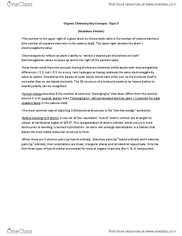 Chemistry 1027A/B Lecture Notes - Fall 2013, - Organic