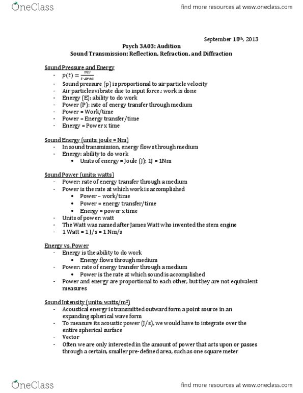 PSYCH 3A03 Lecture Notes - Fall 2013, - Psych, Root Mean