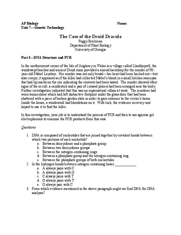 ITM 207 Lecture 2: The Case of the Druid Dracula--PCR Lab