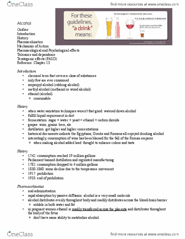 PHAR 100 Lecture Notes - Fall 2013, - Thiamine, Ethanol Metabolism