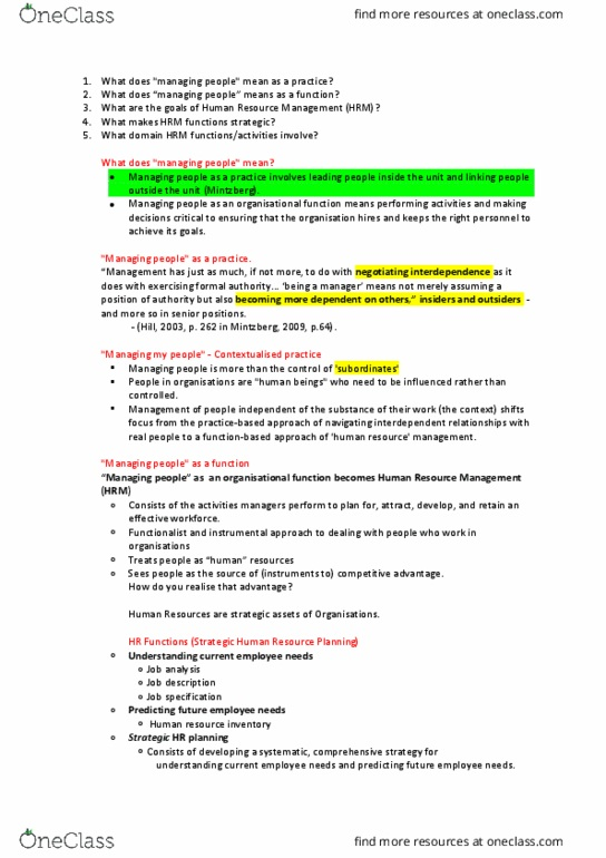 Bba102 Lecture Notes Spring 2017 Lecture 5 Human Resource