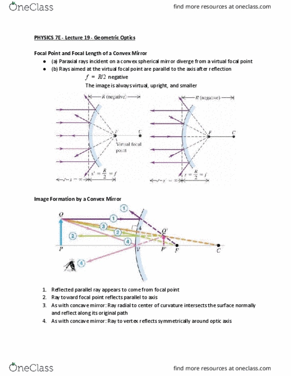 PHYSICS 7E Lecture Notes - Spring 2018, Lecture 20 - Curved