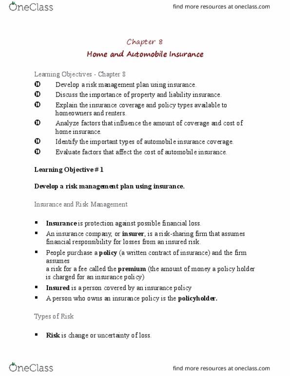 Financial Services _Çô Client Services RFC121 Chapter Notes - Chapter 8:  Vehicle Insurance, Liability Insurance, Risk Management