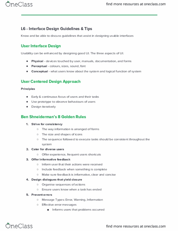 Fit2001 Lecture Notes Fall 2016 Lecture 6 User Centered Design User Interface Usability