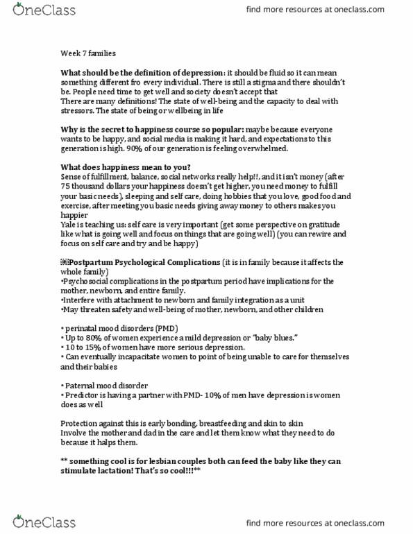 NURS 233 Lecture Notes - Lecture 7: Postpartum Depression, Postpartum  Period, Mood Disorder