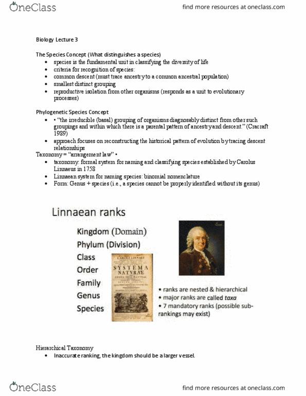 BIO153H5 Lecture Notes - Summer 2018, Lecture 3 - Carl Linnaeus, Binomial  Nomenclature, Formal System