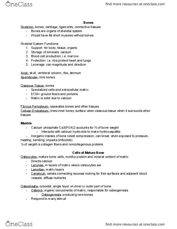 BIO 263 Lecture Notes - Spring 2018, Lecture 4 - Tricalcium