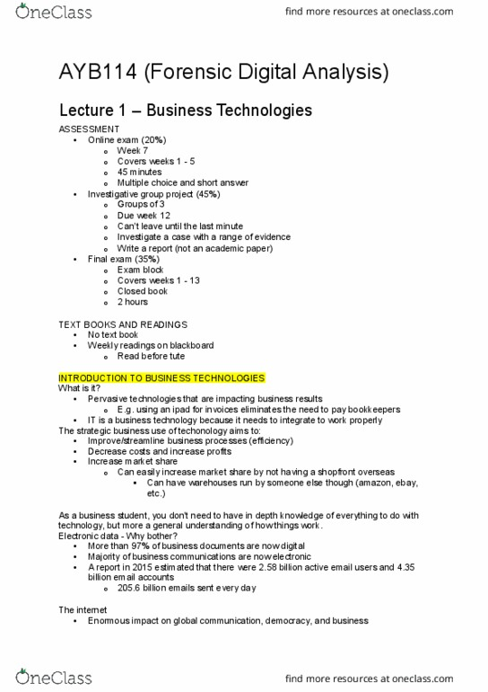 AYB114 Lecture Notes - Fall 2018, Lecture 1 - Australia Post