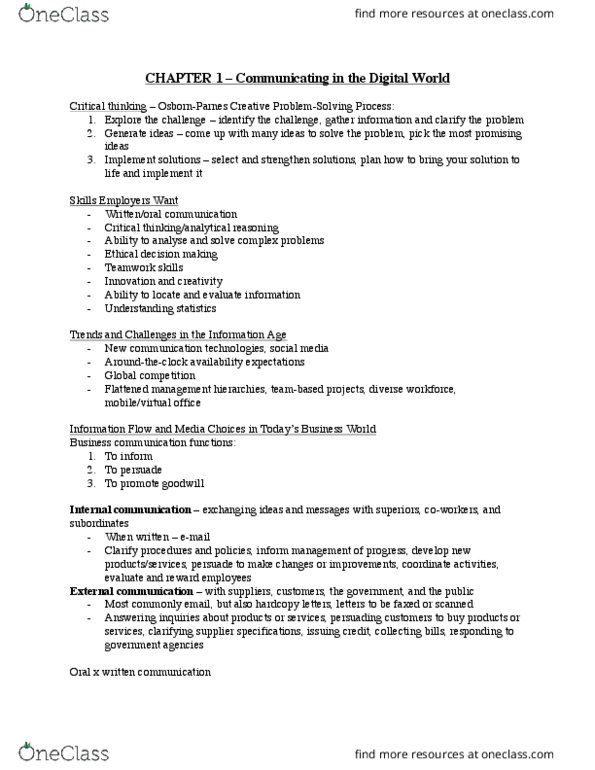 MGMT 1000 Textbook Notes - Winter 2018, Chapter 1 - Business