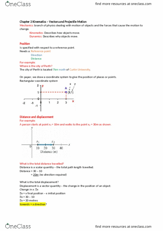 Class Notes for Physics at Curtin University - OneClass