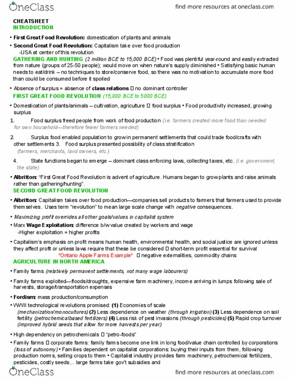 SOC 808 Study Guide - Fall 2017, Final - Commodity Fetishism