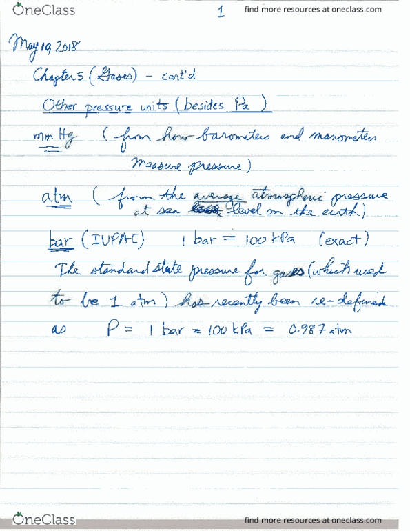 Class Notes for Chemistry at Memorial University (MUN) - OneClass