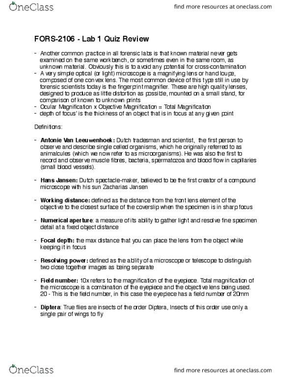 FORS-2106EL Study Guide - Quiz Guide: Digital Evidence, Zacharias Janssen,  Antonie Van Leeuwenhoek