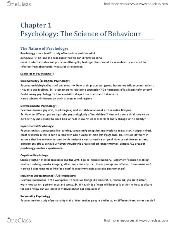 Psychology 1000 Textbook Notes Fall 2013 Chapter 1